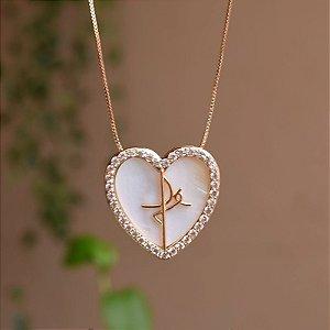 Colar coração madrepérola Fé zircônia ouro semijoia