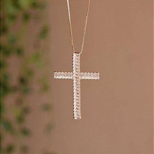 Colar crucifixo cristais austríacos ouro semijoia