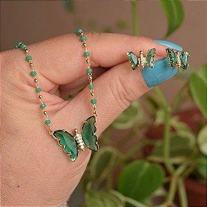 Colar e brinco borboleta cristal verde ouro semijoia