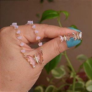 Colar e brinco borboleta cristal rosa ouro semijoia