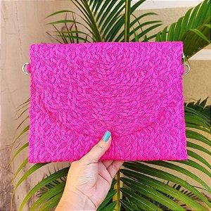 Bolsa carteira palha pink