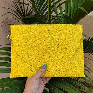 Bolsa carteira palha amarela