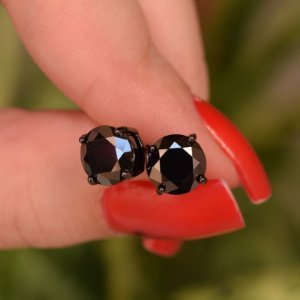 Brinco zircônia preto ródio negro semijoia 0081