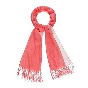 Pashimina viscose bicolor coral e rosa Pas 003