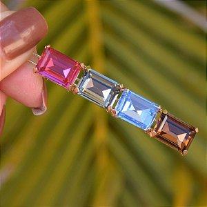 Presilha retangular cristais coloridos dourado