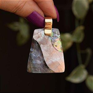 Pingente mosaico madrepérola e abalone ouro semijoia