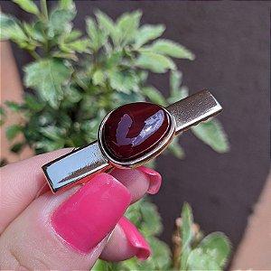 Presilha bico de pato pedra natural ágata vermelha ouro semijoia
