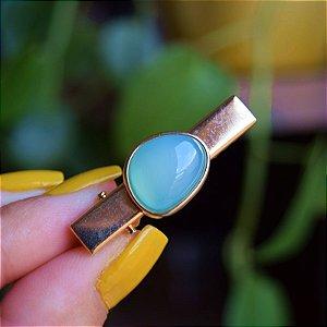 Presilha bico de pato infantil pedra natural ágata azul céu ouro semijoia