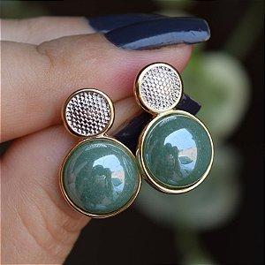 Brinco redondo pedra natural quartzo verde ouro semijoia
