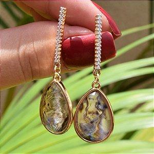Brinco gota pedra natural abalone zircônia ouro semijoia