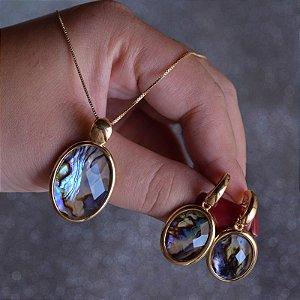 Colar e brinco oval pedra natural abalone semijoia