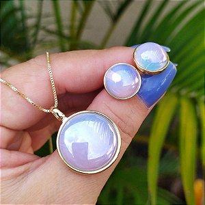 Colar e brinco redondo pedra natural opalina semijoia