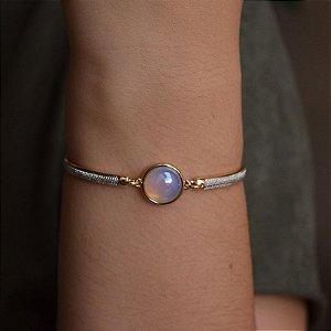 Bracelete pedra natural opalina ouro semijoia