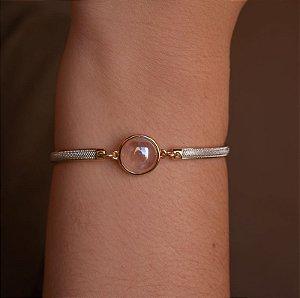 Bracelete pedra natural quartzo rosa ouro semijoia