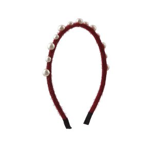 Tiara veludo vermelho com pérolas