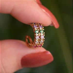 Piercing de encaixe indivual zircônia colorida ouro semijoia