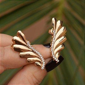 Brinco ear cuff asas zircônia ouro rosê semijoia