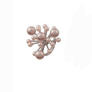 Anel chuveiro ajustável pérolas rosadas ródio semijoia