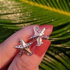 Brinco estrela zircônias coloridas ouro semijoia