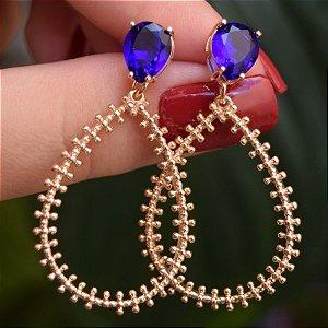 Brinco gota cristal azul ouro semijoia