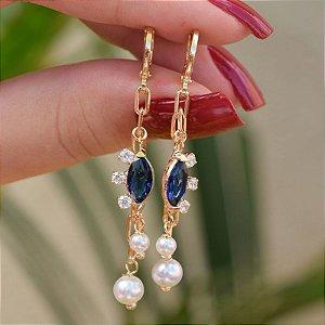Brinco argolinha zircônia azul pérola ouro semijoia