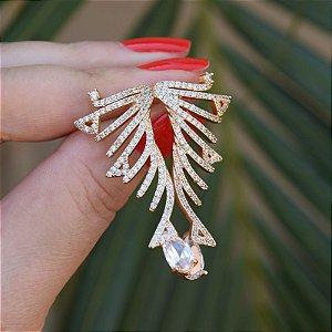 Brinco zircônia gota cristal ouro semijoia 19A08038