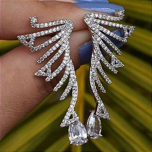 Brinco zircônia gota cristal ródio semijoia 19A08038