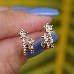 Brinco estrela zircônia ouro semijoia 19A09042