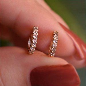 Brinco argolinha segundo furo ouro cristal semijoia 11A04063