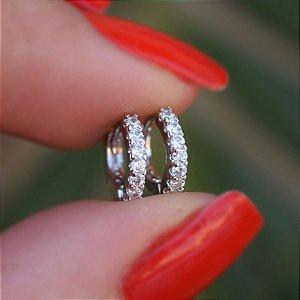 Brinco argolinha fina segundo furo ródio cristal semijoia 11A04063