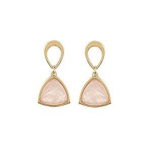 Brinco pedra natural quartzo rosa ouro semijoia