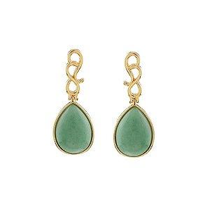 Brinco gota pedra natural quartzo verde ouro semijoia