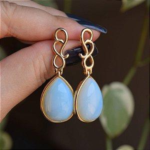 Brinco gota pedra natural opalina ouro semijoia