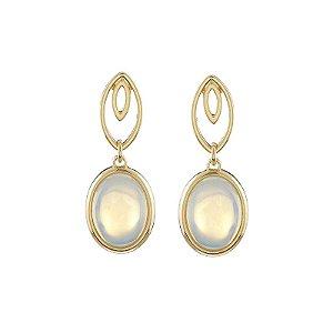 Brinco oval pedra natural opalina ouro semijoia