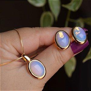 Colar e brinco oval pedra natural opalina semijoia