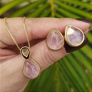 Colar e brinco gota pedra natural quartzo rosa ouro semijoia