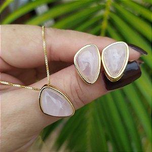 Colar e brinco geométrico pedra natural quartzo rosa ouro semijoia