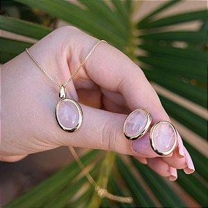 Colar e brinco oval pedra natural quartzo rosa ouro semijoia
