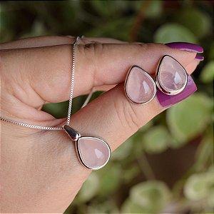 Colar e brinco gota pedra natural quartzo rosa ródio semijoia