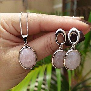 Colar e brinco oval pedra natural quartzo rosa ródio semijoia