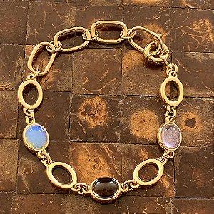 Pulseira pedras naturais coloridas ovais ouro semijoia