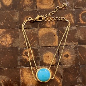 Pulseira dupla pedra natural ágata azul céu ouro semijoia