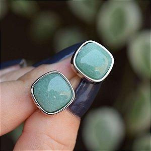 Brinco quadrado pedra natural quartzo verde ródio semijoia