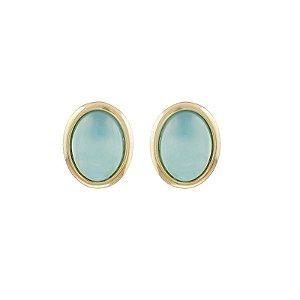 Brinco oval pedra natural ágata azul céu ouro semijoia