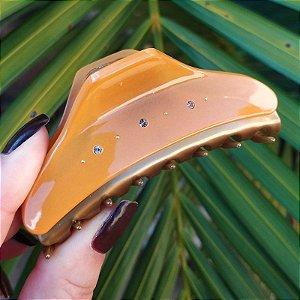 Piranha de cabelo francesa Finestra amarelo e dourado strass F2841BD/6sYE