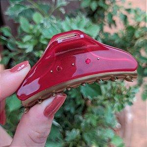Piranha de cabelo francesa Finestra vermelho e dourado strass F2842BD/4sRO
