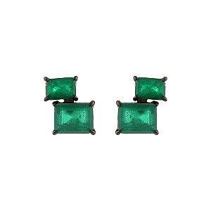 Brinco retangular cristal verde esmeralda ródio negro semijoia