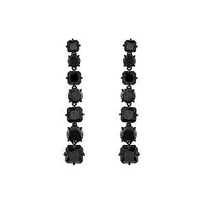 Brinco zircônia cristal preto ródio negro semijoia