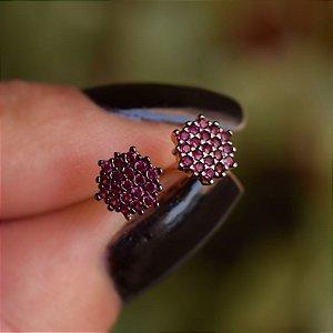 Brinco flor zircônia pink ouro semijoia 14A02020