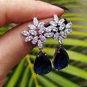 Brinco gota azul cristal ródio semijoia